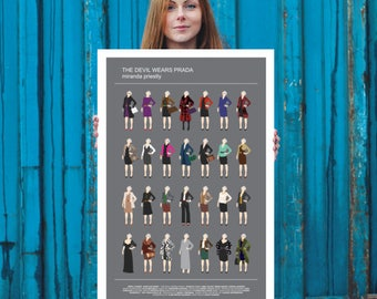 The Devil Wears Prada poster, Miranda Priestly all looks Meryl Streep, minimalist movie poster fashion gray print Prada wall, Gift birthday