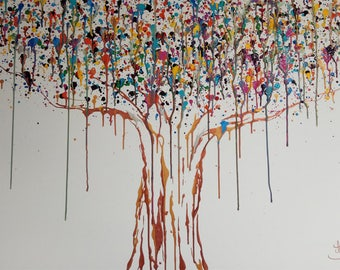 "Tree "" Original painting on canvas,by TOMER SHARABANI"