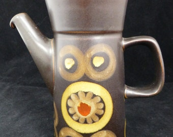 Denby Arabesque Hand painted Brown Matt Glaze Stoneware Coffee pot - not original lid - with glazed geometric design by Gill Pemberton