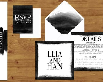 Bold Black and White Wedding Invitations Stationery Set - Printed or Digital Download - Black and White Wedding - Wedding Printable