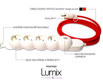 Extension cable 4 sockets 2 poles + ground - cable textile effect black or red silk 3 x 1,5 mm2 cable length to choose