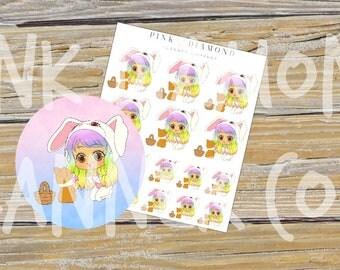 Easter Set // Larona and Jett (Kawaii Planner Stickers)