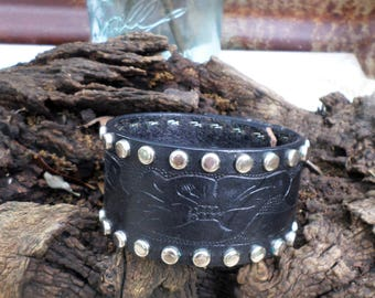 Rustic Western Black Leather Cuff Bracelet with Studs