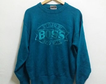 Vintage Hugo Boss sweatshirt spellout embroidered/green/medium/branded/fashion
