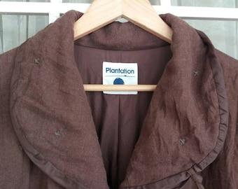 Vintage Plantation issey miyaki button jacket lightwieght/large/brown/issey /yohji yamamoto/kansai eye/comme des/designer/made in japan
