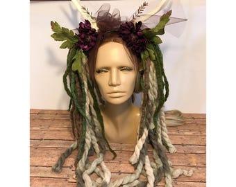 Dreadlock horned headress green
