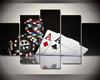Playing poker cards aces print poster canvas decoration 5 pieces