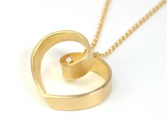Anhänger Gold 750 Brillant, das Band der Liebe, mit Ankerkette Gold Schmuckdesign hand made in germany