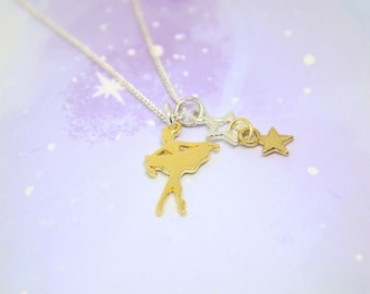 Gold Ballerina necklace, gold and silver ballet necklace, sterling silver plated chain with gold tone ballerina charm dance necklace dancer