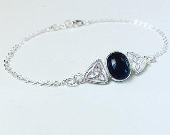 Sterling silver black onyx celtic trinity bracelet, natural gemstone bracelet, crystal healing, alternative / grunge