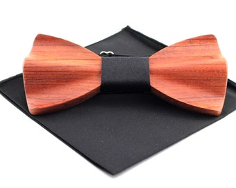 Rosewood wooden bow tie + Black fabric and Pocket Square(Large)