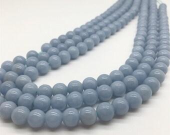 8mm Angelite Beads, Light Blue Stone, Gemstone Beads, Wholesale Beads