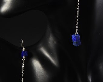 natural  lapis lazuli earrings with sterling silver.
