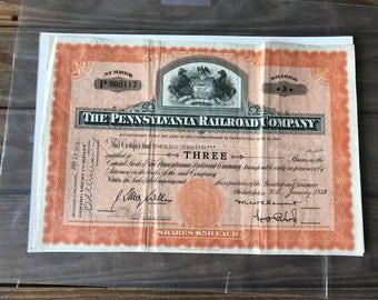 Pennsylvania Railroad Company Share Certificate