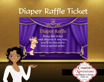 Diaper Raffle Ticket, Royal Prince with Crown, Digital File