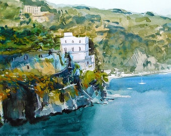 Fine Art Print of My Amalfi Coast Watercolour Painting Signed Seascape Italy Boats A3 A4 Giclee High Quality Vibrant Impressionist Landscape