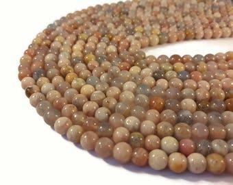 40 beads Moonstone natural 6 mm - semi precious stone of gem - A096 Pierre
