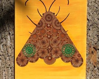 Psychedelic Moth Original Artwork, Mixed Media Moth, Spirograph Art, Moth Spirit Animal
