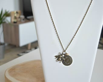 "Necklace Sautoir ""Clock Vintage Bumblebee"""