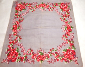 1940s Vintage Cotton Grey Handkerchief with Red Rose Motif