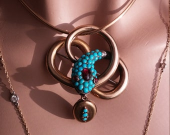 Victorian Pave Turquoise Seed Garnet Cabochon Snake Brooch 20 Grams