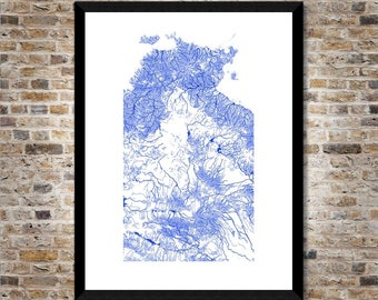 Waterways of the Northern Territory map art | High-res digital Australia map print | NT print | NT poster | Wall art | Unique gift idea