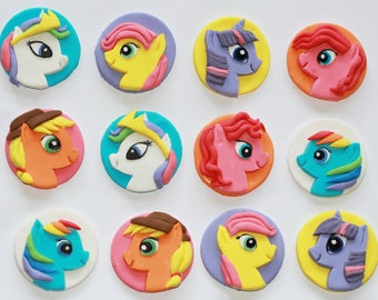 Fondant cupcake toppers with My Little Pony characters. My Little Pony cupcake toppers