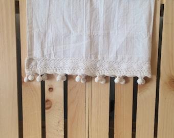Dangle-Ball Cotton Crochet Trimmed Flour Sack Towel