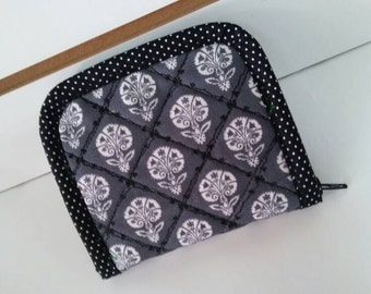 Women Handmade, Quilted Wallet, Small Wallet, Quilted Pouch with dark grey and white Cotton Canvas.
