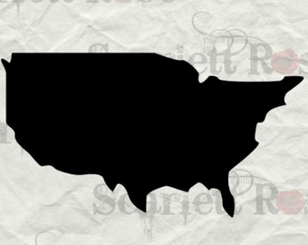 US States Map eps svg png jpg Vector Graphic Clip Art Silhouette