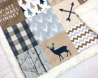 Personalized Baby minky blanket, deer woodland blanket, arrows blanket, beige gray tan baby blanket, boy blanket, baby shower gift, birth