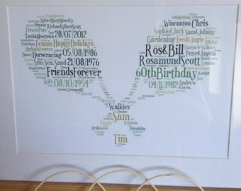 A4 Personalised Word Art Tennis Print (UK ONLY)/Download