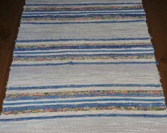Vintage Swedish Handwoven Rag Rug 150 x 70 cms