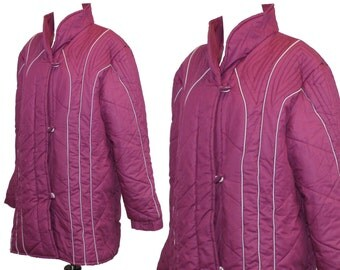vintage puffer coat • ladies quilted coat • long puffy winter jacket • retro 80s winter clothing • purple hip length coat • womens size M L