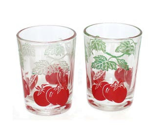 1950s juice glasses • vintage Mid Century glassware • lot of 2 retro tumblers • pair small tomato juice glasses • Federal • kitschy kitchen
