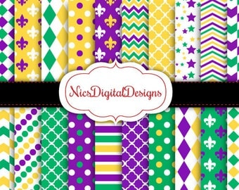 Buy 2 Get 1 Free-20 Digital Papers.  Patterns in Mardi Gras Colours (2J no 3) for Personal Use and Small Commercial Use Scrapbooking