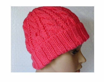 Knitted Cable Beanie, Womens Braided Knit Hats, Cable Knit Hat with Brim, Girls Knit Beanies, Winter Pink Hats, Cable Knit Hats