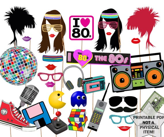 80s photo booth props 80 39 s party props for Decoration annee 80