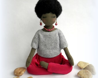 Custom doll Black woman doll Cloth doll African art doll Yoga rag doll Soft sculpture Personalized gift Fabric collectible doll African doll