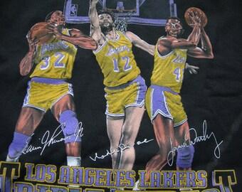 vtg  LA Lakers NBA basketball  triple threat Nutmeg  black crew sweater  new w o t   size Medium