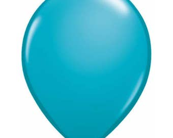 TEAL BALLOONS 5 x 28cm - Set of 5 Standard Size Tropical Teal Balloons  (11 inches / 28cm)