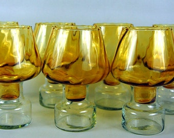 Set of 7 Amber Glass Candle Holders