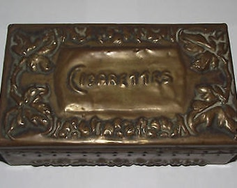 Vintage Embossed Brass and Wood Lined Cigarette Box