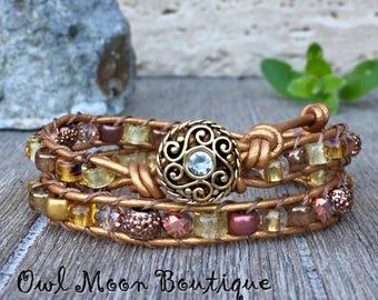Double wrap Leather Bracelet Bronzed Beauty