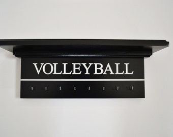 "Volleyball Trophy Shelf Medal Holder Ribbon Display Award Shelf Sports Shelf Custom Trophy Shelf Sports Award Display Shelf Runners 18"""