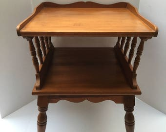 Mid-Century End Table, maple wood, Spindle sides, two shelf table
