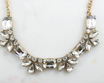 Crystal Statement Necklace / Bridal Jewelry / Bridesmaid Jewelry/ Bridesmaid Gift / Chunky Statement /Bib Necklace /Statement Necklace/Jcrew