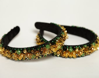Gold beaded headpiece Gold beaded headband Gold beaded crown Gold crystal tiara Gold crystal headband Gold crystal tiara Golg hair accessory