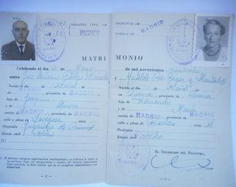 Old family book Family tree Spain Marriage 1963 Madrid Malaga