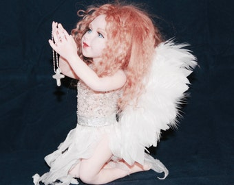 Angel ooak polymer clay art doll hand sculpted by ALMA Artistry. MADE to ORDER